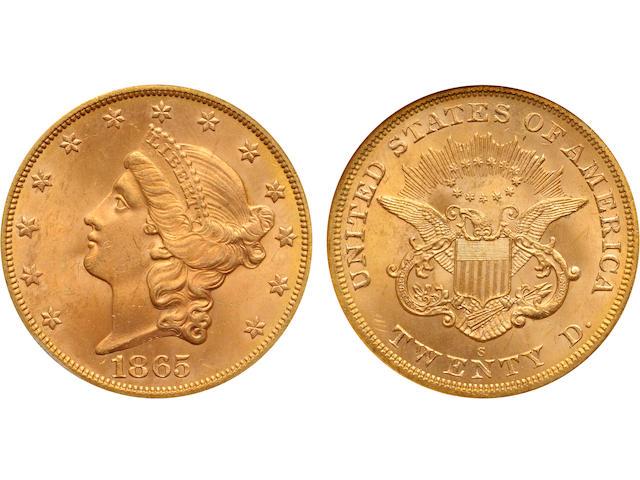 1865-S $20 S.S. Brother Jonathan MS65 NGC