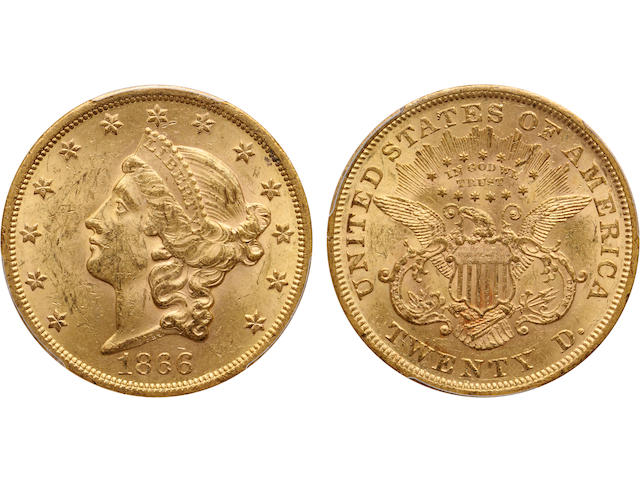 1866 $20 MS62 PCGS
