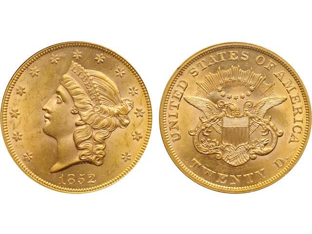 1852 $20 MS62 PCGS