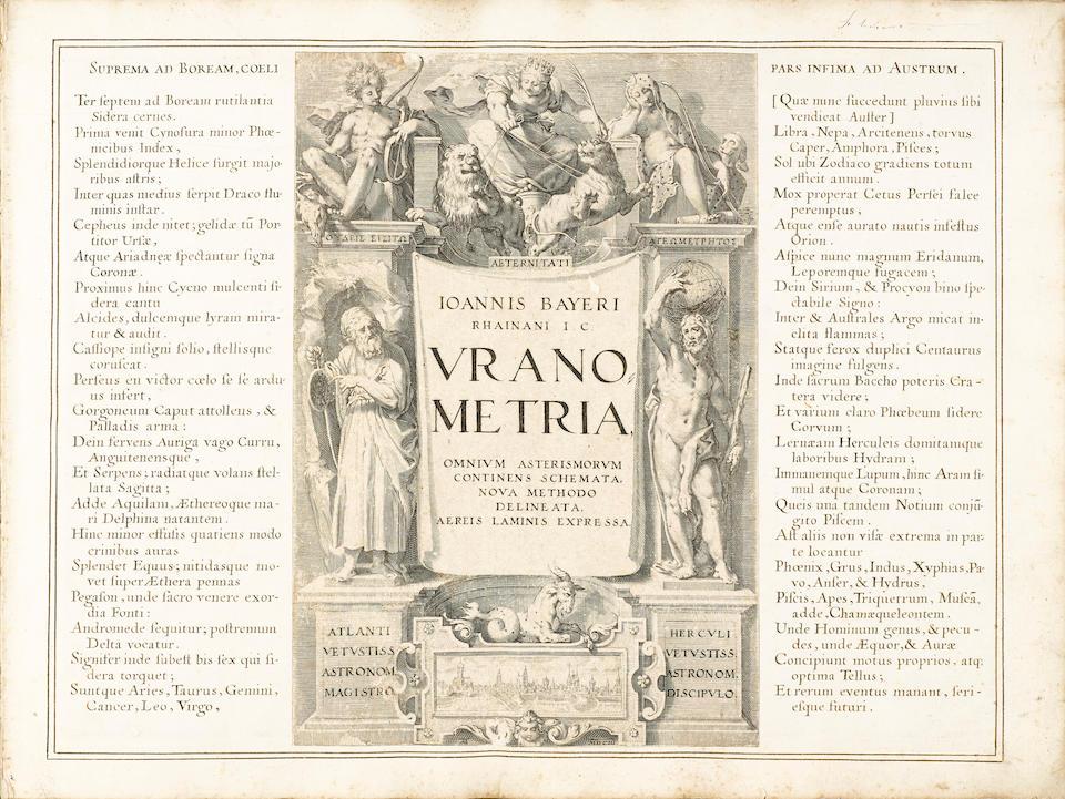 CELESTIAL ATLAS. BAYER, JOHANN. 1572-1625. Uranometria, omnium asterismorum continens schemata, nova methodo delineata, aereis laminis expressa. [Augsburg: Christophorus Mangus, 1639.]