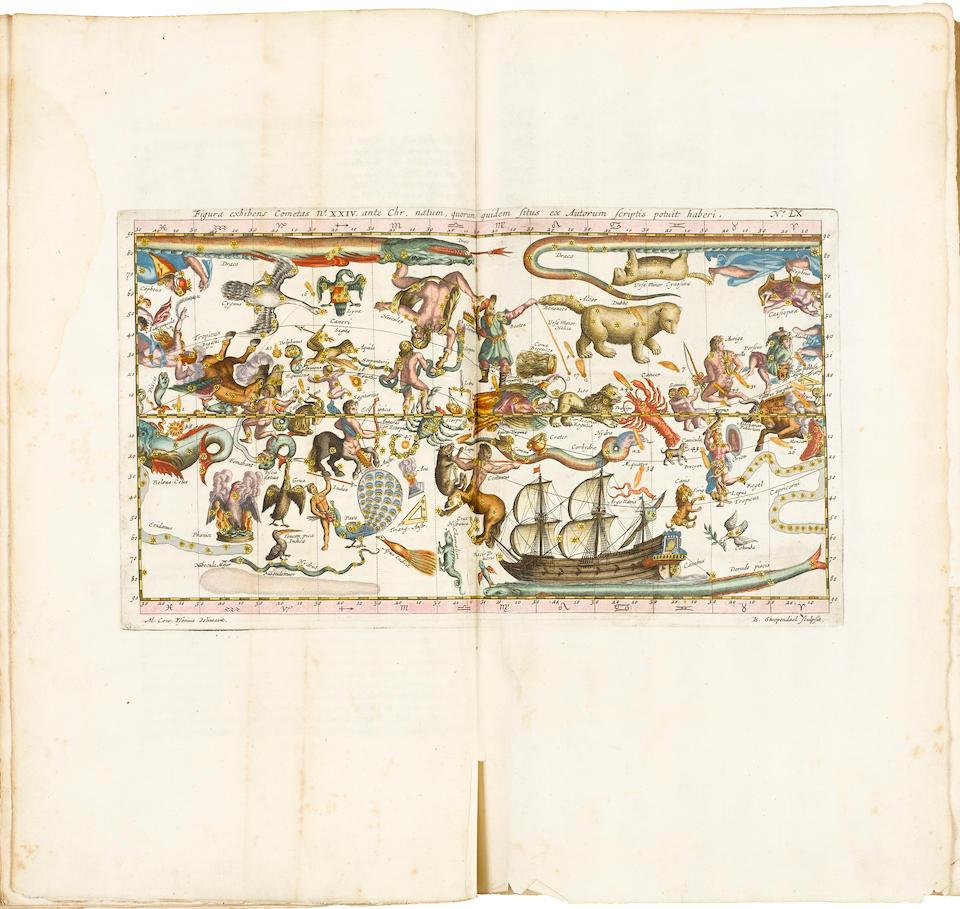 LUBIENIECKI, STANISLAW. 1623-1675. [Theatri Cometici pars posterior] Historia Cometarum, a Diluvio usque ad præsentem annum vulgaris Epochae à Christo nato 1665. Decurrentem, Unà cum Indiculo lætorum & tristium eventuum, Cometarum apparitionem secutorum, In qua simul Synopsis quædam Universalis Historiæ proponitur. Amsterdam: Daniele Baccamude, 1666. [BOUND WITH]: Theatri cometici Exitus De significatione Cometarum...  Amsterdam: Daniele Baccamude, 1668.