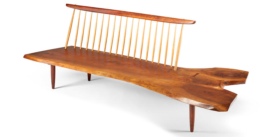 George Nakashima (1905-1990) Conoid Bench with Spindle Back, 1965