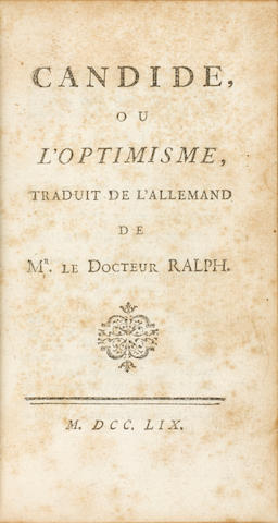 Bonhams Voltaire Franois Marie Arouet 1694 1778 Candide Ou L