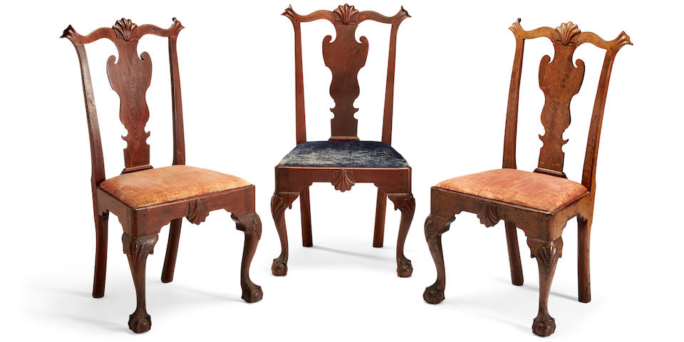 A set of three Chippendale walnut side chairs possibly attributed to Samuel Mickle and Jonathan Shoemaker, Philadelphia, third quarter 18th century