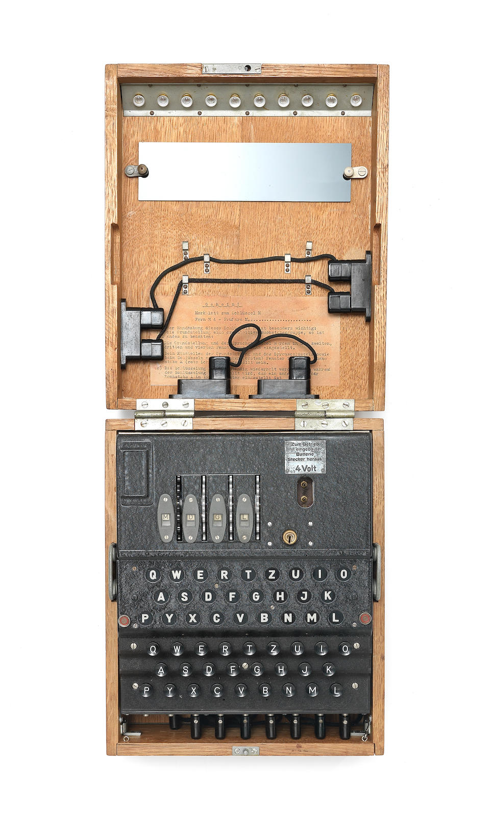 A German Naval 4-rotor Enigma enciphering machine (M4), for U-Boat use, circa 1942-44.
