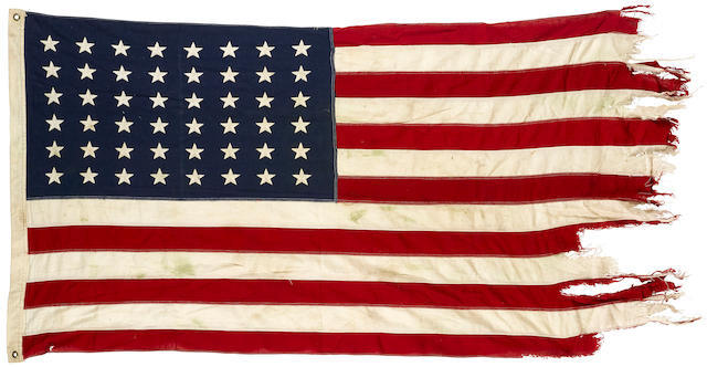 OPERATION OVERLORD: AMERICAN FLAG FLOWN BY BRITISH LCT 7074, NORMANDY, JUNE TO JULY 1944 30 x 53in (76 x 135cm)