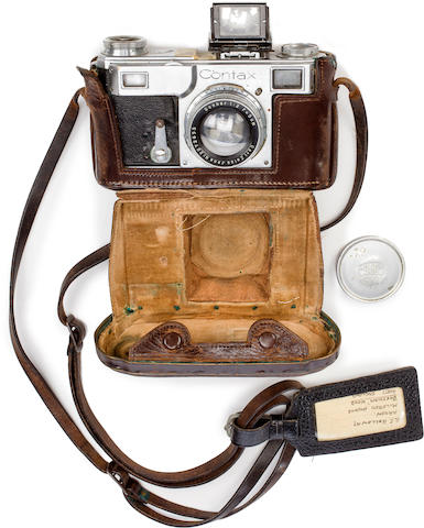 THE CAMERA OF JOACHIM VON RIBBENTROP WITH ARRESTING OFFICERS' PHOTOGRAPHS AND EFFECTS, JUNE, 1945 Camera: 6 x 4 x 3in (16 x 10 x 8cm)
