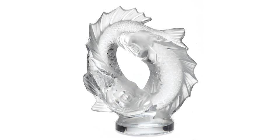 A Lalique glass sculpture: Deux Poissons 11622