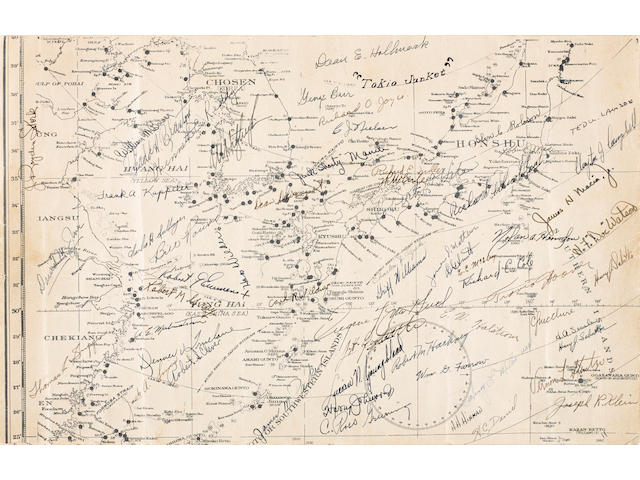 DOOLITTLE RAID: MAP OF THE NORTHERN PACIFIC THEATER, SIGNED BY 60 MEMBERS OF THE FLIGHT CREWS BEFORE TAKE OFF, ON THE USS HORNET, c.17 APRIL 1942 17 x 11in (43 x 28cm)