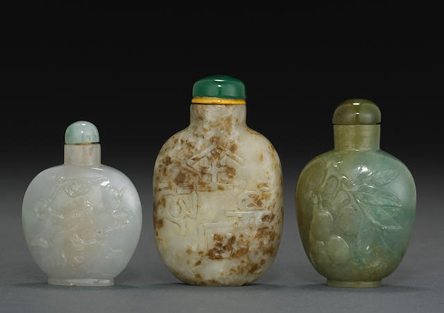 A group of three jade snuff bottles