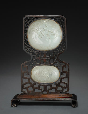 Two mounted jade plaques Late Qing dynasty
