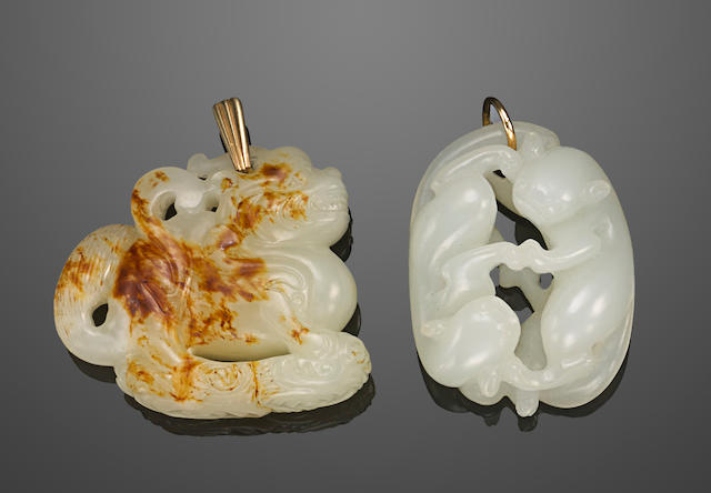 Two carved jade pendants Qing dynasty or later