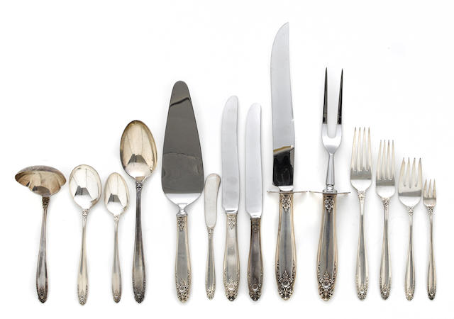 An American sterling silver part flatware service for six by International Silver Co., Meriden, CT, 20th century