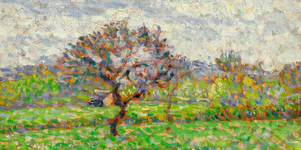 Camille Pissarro (1830-1903) Le pommier à Eragny 6 1/8 x 8 1/4 in (15.5 x 20.8 cm) (Painted circa 1887)