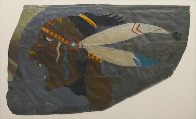 "93RD AERO SQUADRON ""SCREAMING INDIAN"" NOSE ART PANEL, 1918 39 x 23.5in (99 x 60cm)"