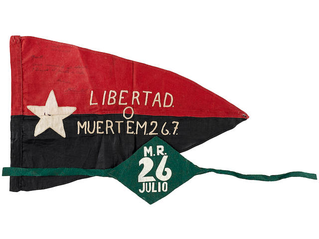 """CUBAN REVOLTIONARY FLAG """"LIBERTAD O MUERTE"""": 26TH JULY MOVEMENT FLAG SIGNED BY FIDEL CASTRO, WITH A REVOLUTIONARY ARMBAND, THE FLAG DATED 18 APRIL 1958 Flag: 12 x 18in (30 x 46cm); armband: 6 x 5in (15 x 13cm)"""