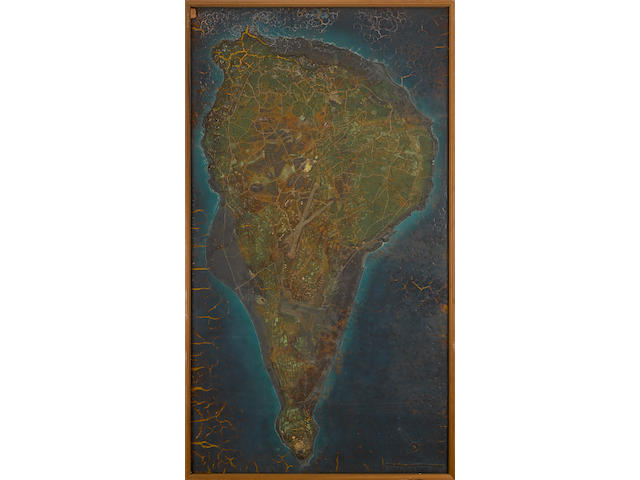 IWO JIMA CAMPAIGN: A US MODEL RELIEF MAP OF IWO JIMA USED FOR PLANNING PURPOSES, FEBRUARY 1945 70.5 x 39in (179 x 99cm)