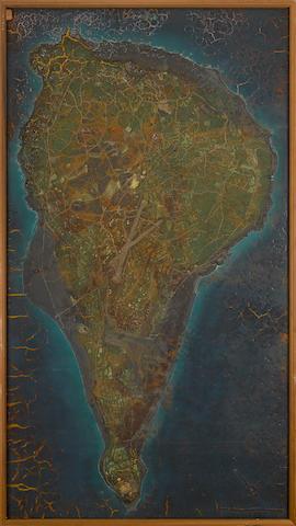 Bonhams : IWO JIMA CAMPAIGN: A US MODEL RELIEF MAP OF IWO JIMA USED on