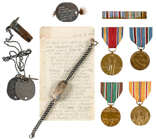 D-DAY COLLECTION OF SEAMAN JOHN BENTON FRANKEMOLLE, US COAST GUARD, 6 JUNE 1944 Dress cap: 9.5 x 3 x 9.5in (24 x 8 x 24cm); dress tunic: 18 x 23in (46 x 58cm); dress trousers: 44 x 24in (112 x 61cm)