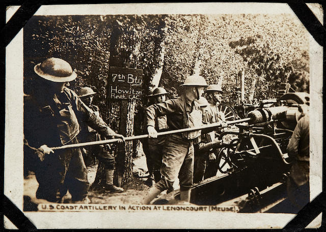 AMERICAN EXPEDITIONARY FORCE, 1918. Photograph album, 350 x 270 mm, containing approximately 435 photos and photo postcards, mainly of French battlefields, barracks and civilian scenes,