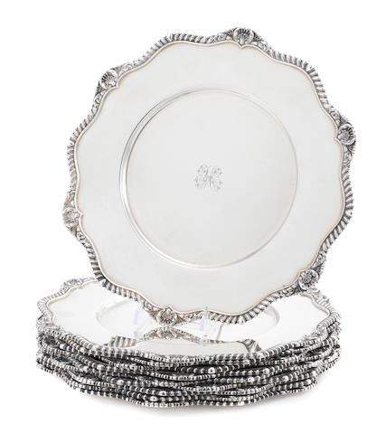 A set of ten American  sterling silver  plates  by International Silver Co., Meriden, CT,  20th century