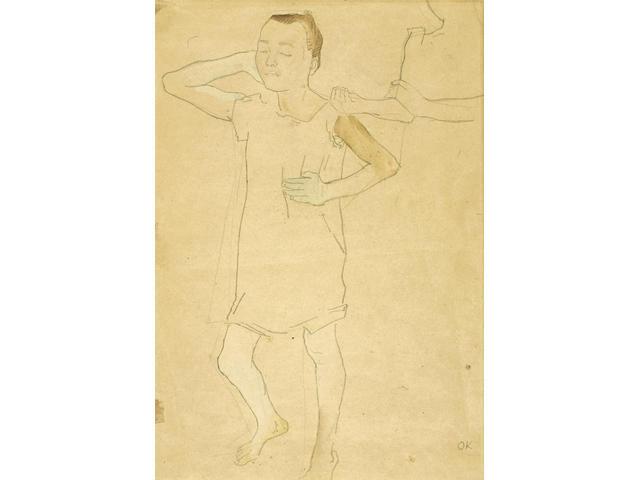 Oskar Kokoschka (1886-1980) Stehendes Mädchen 16 1/2 x 12 1/4 in (41.9 x 31.1 cm) (Drawn in 1907)