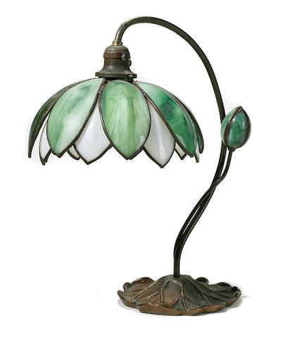 A Handel glass and patinated metal Lotus lampearly 20th century