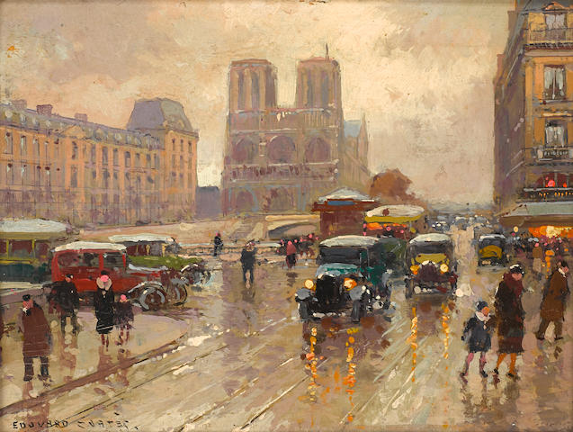 Edouard Henri Leon Cortès (French, 1882-1969) A view of Notre-Dame 6 1/4 x 8 1/2in (16 x 21.5cm)