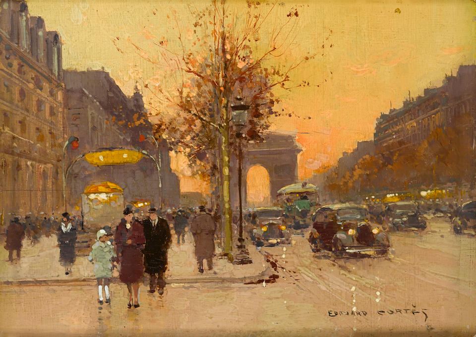 Edouard Henri Leon Cortès (French, 1882-1969) L'arc de triomphe; L'opera (a pair) 6 1/4 x 8 3/4in (16 x 22.3cm)