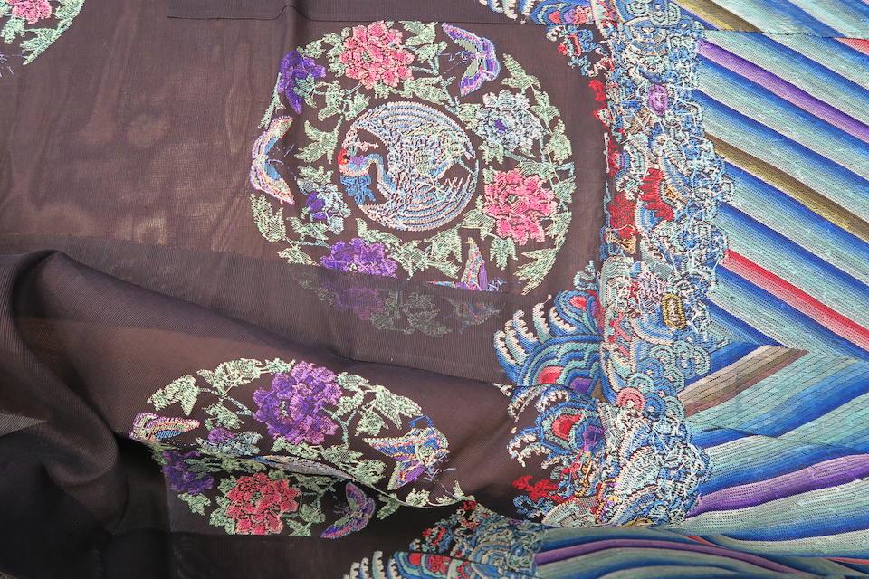 A Manchu woman's embroidered black silk gauze surcoat, waitao  Late Qing dynasty