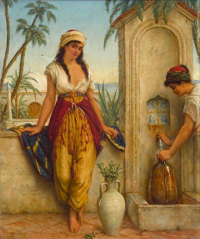 William Gale (British, 1823-1909) Oriental girls at the fountain 14 x 11 1/2in (35.5 x 29.3cm)