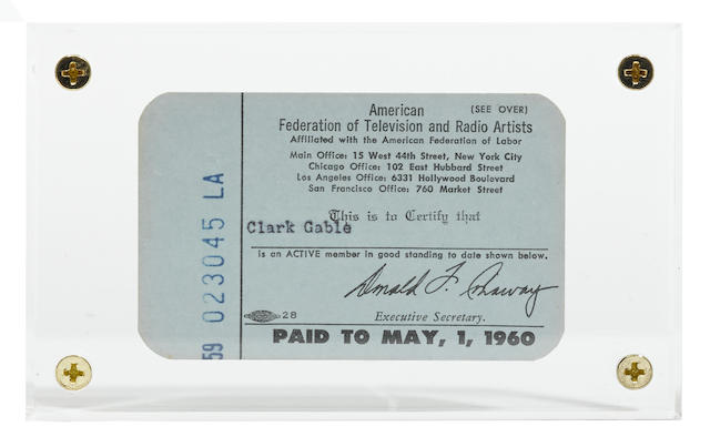 A group of three Clark Gable membership cards