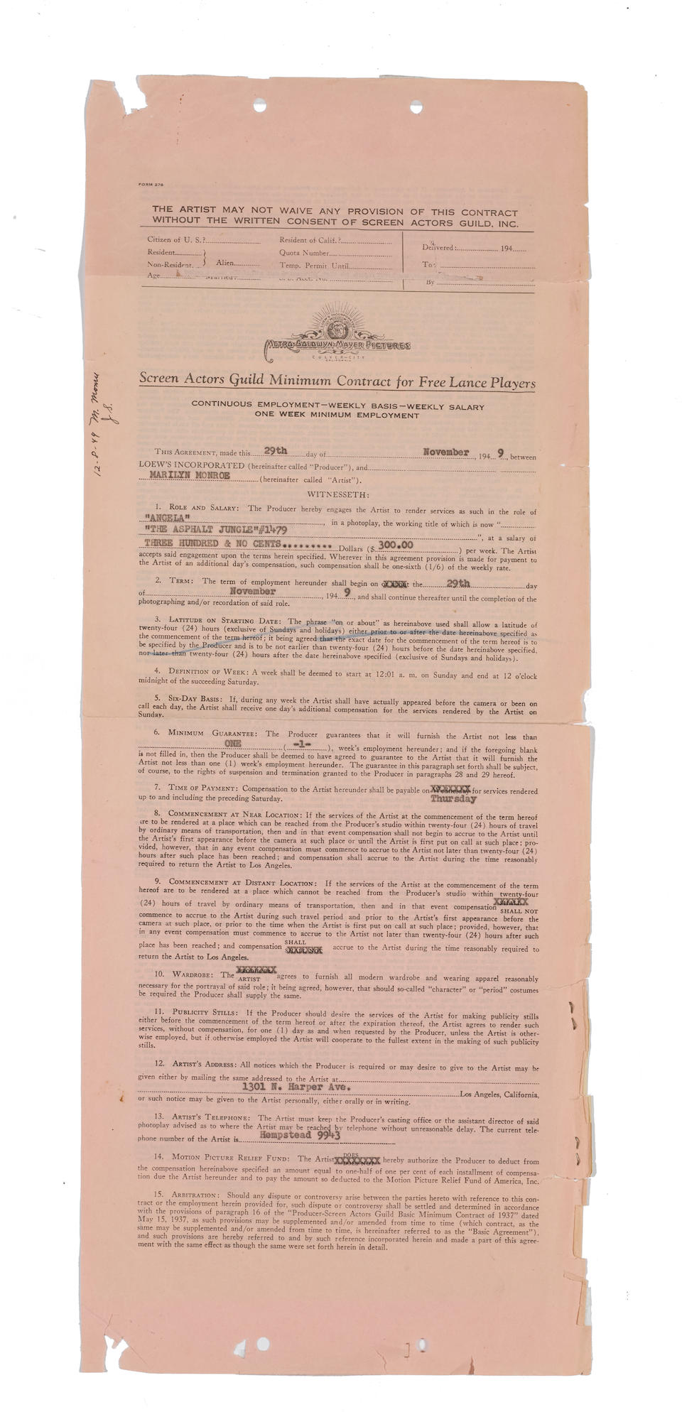 A Marilyn Monroe signed contract for The Asphalt Jungle