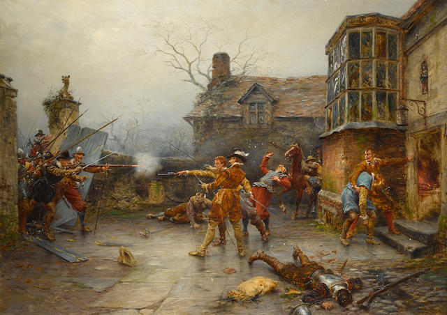 Ernest Crofts, RA (British, 1847-1911) The Gunpowder Plot: the conspirators' last stand at Holbeach House 51 x 72in (129.5 x 182.8cm)