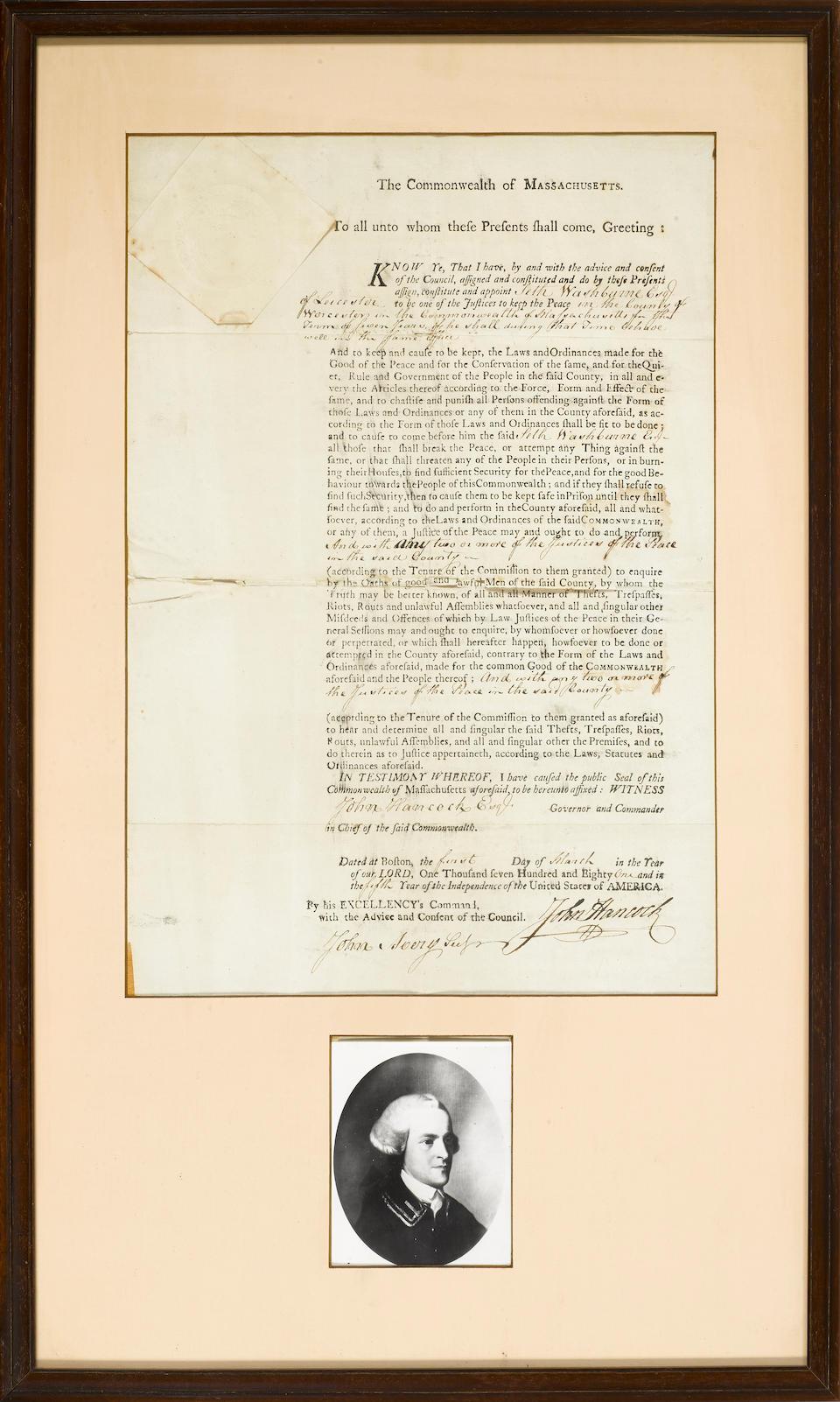 "HANCOCK, JOHN. 1737-1793. Document Signed (""John Hancock""), 1 p, folio,"