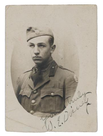 A World War I era signed photograph of Walt Disney