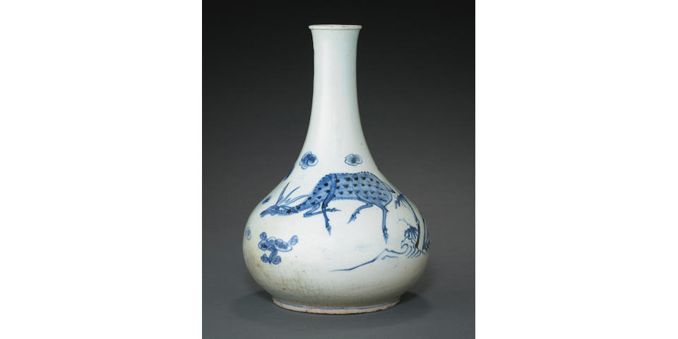 A blue and white pear shaped bottle with longevity symbols Joseon dynasty, 19th century