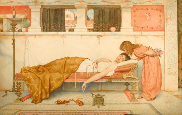George Lawrence Bulleid (British 1858-1933) Awakened 24 x 38in (61 x 96.5cm)