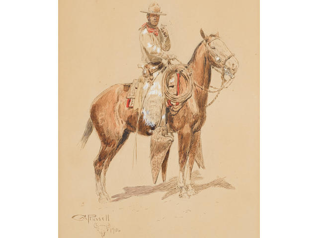 Charles Marion Russell (American, 1864-1926) A Shadow Rider 11 x 7in