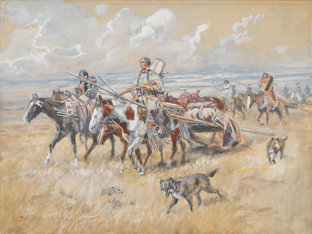 Charles Marion Russell (American, 1864-1926) Women of the Plains 12 x 16in