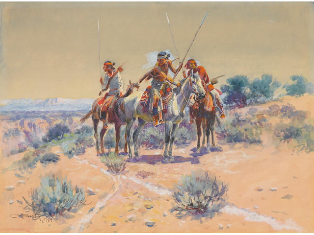 Charles Marion Russell (American, 1864-1926) Scouting Party 14 1/2 x 19 1/2in