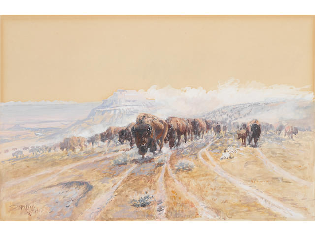 Charles Marion Russell (American, 1864-1926) Buffalo on the Move 10 x 15in