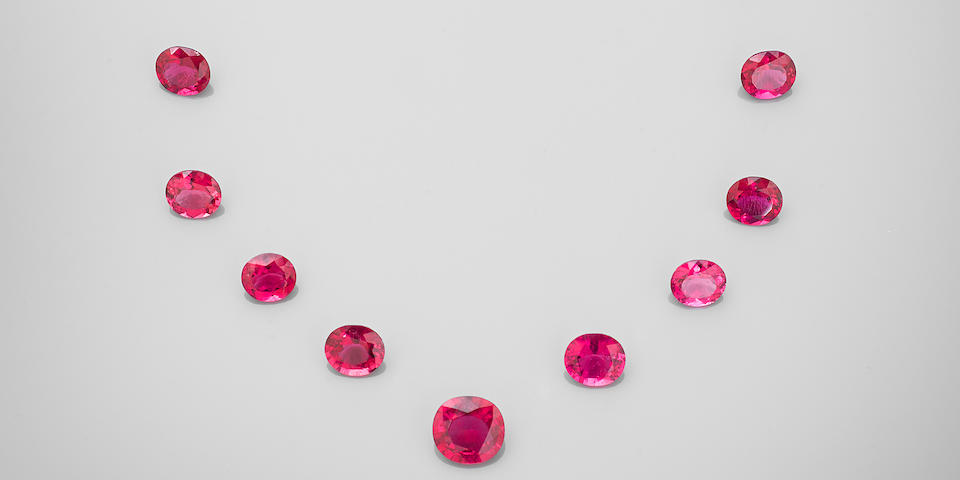 Suite of Fifteen Hot Pink Rubellite Tourmalines