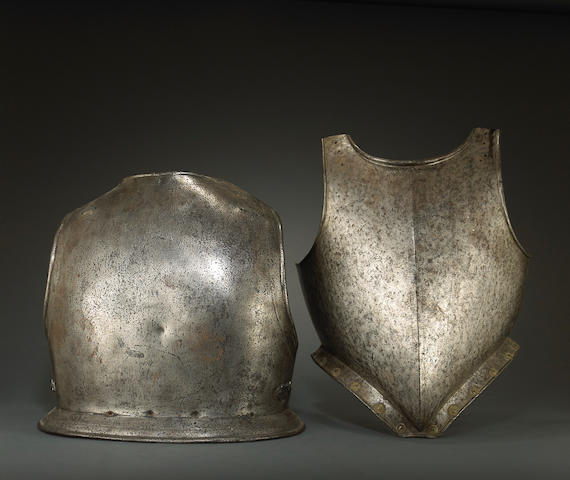 An English breastplate with associated backplate
