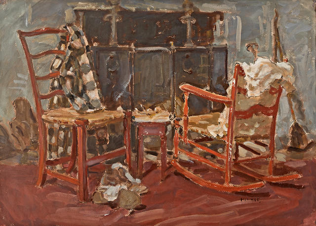 Clarence Hinkle (American, 1880-1960) Chairs by a hearth 22 x 30 1/2in overall: 34 1/2 x 42 1/2in