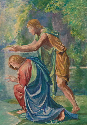 John La Farge (1835-1910) The Baptism of Christ (after Nicholas Poussin) 10 1/4 x 7 1/2in, image; 14 3/4 x 11 1/8in, sheet (Executed circa 1902.)