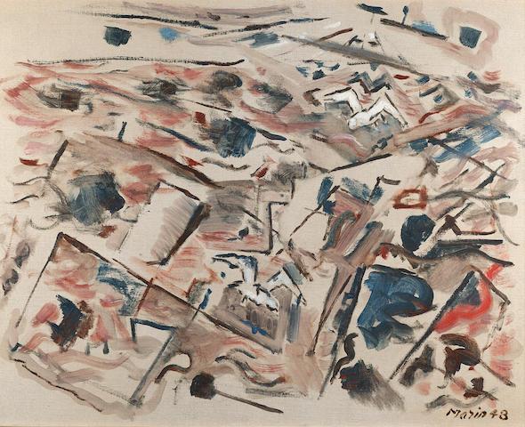 John Marin (1870-1953) Sea in Red (Version II) 22 x 28in (Painted in 1948.)