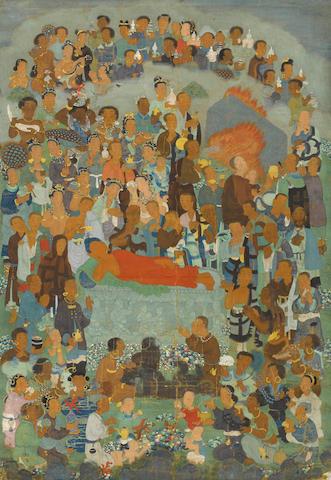 A thangka of Shakyamuni's Parinirvana School of Choying Dorje, Eastern Tibet or Yunnan Province, China, late 17th century