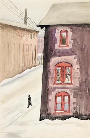 Charles Burchfield (1893-1967) Street Scene with Figure 18 x 12in