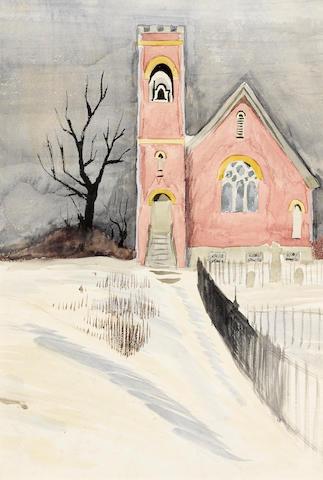 Charles Burchfield (1893-1967) Churchyard in Winter 14 x10in